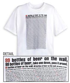 99 Bottles Of Beer Lyrics Shirts