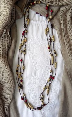 Long wooden bead necklace / adds touch of color to the neutral tone tops / Casual comfort / outfits