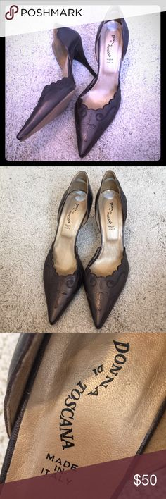 Donna Di Toscana Made In Italy Leather Heels Sz 10 These vintage beauties were crafted in Italy and feature embroidered brown/copper leather. These add class to any vintage style outfit! Donna Di Toscana Shoes Heels