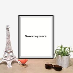 Printable Art Typography Poster Own Who You by curlybracketdesign