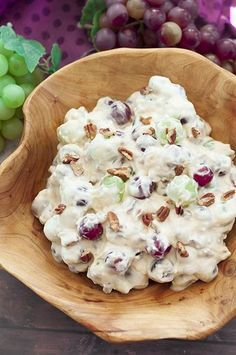You're just 7 ingredients away from this Creamy Pecan Crunch Grape Salad recipe that will be a big hit at office potlucks, BBQ's, holiday dinners & parties!