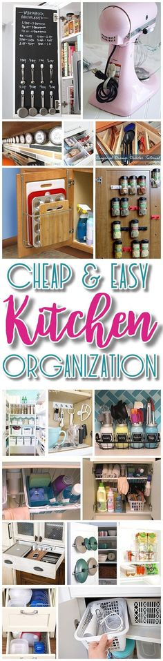 Easy and Budget Friendly Ways to Organize your Kitchen - Hacks, Ideas, Space Saving tips and tricks for Quick Organization in a small or big Kitchen - Dreaming in DIY - Kitchen Today Organisation Hacks, Organizing Hacks, Kitchen Organization, Kitchen Storage, Storage Organization, Storage Ideas, Diy Storage, Organising, Kitchen Utensils