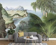 Papel Pintado Bosque De Niebla Acuarela Fotomurales Decorativos Pared 3D GREAT ART P/óster Sala de Estar Dormitorio TV Fondo 300x210CM