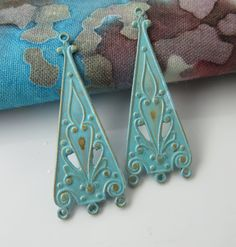 Verdigris patinaed raw brass ornate earring drops  by Metapolies, $9.00