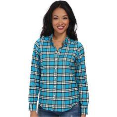 U.S. POLO ASSN. Long Sleeve Plaid Flannel Shirt (Capri Breeze) Women's... ($16) ❤ liked on Polyvore featuring tops, blue, plaid flannel shirts, blue plaid shirt, flannel shirts, polo collar shirts and blue long sleeve shirt