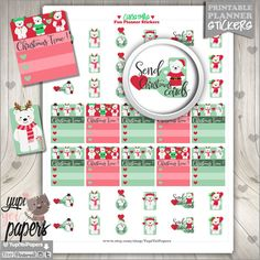 Christmas Planner Stickers, Christmas Planner, Printable Planner Stickers, Planner Accessories, Cute Stickers, Christmas Stamp, Checklist
