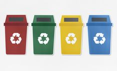 Set of trash bins with recycle symbol Free Photo Recycle Symbol, Trash Bins, Sensory Bins, Recycling Bins, Free Paper, Kids Education, Icon Set, Reuse, Art For Kids