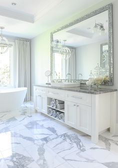 Classic Vancouver master bathroom with vibrant marble Bath Contemporary TraditionalNeoclassical by Enviable Designs
