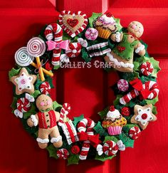 Bucilla Cookies & Candy Wreath ~ Felt Christmas Kit #86264, Gingerbread New 2011