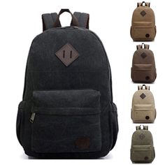 Bag Canvas Men's Vintage Backpack Rucksack Laptop Shoulder Travel Camping Bag #Unbranded #Backpack