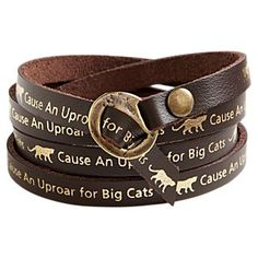 "National Geographic ""Cause an uproar"" leather bracelet. Not only is it an awesome bracelet, proceeds go to help the world's big cats."