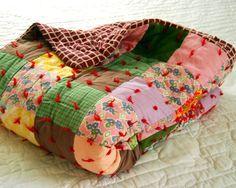 Vintage 1960s Quilt Handmade Tied Patchwork Bedding via Etsy