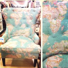 The annie sloan vintage world map fabric adds a stylish look to a awesome world map upholstered chair gumiabroncs Image collections