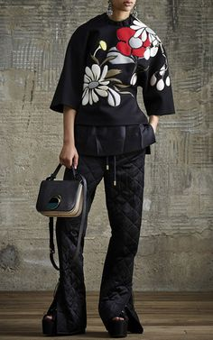 Short Sleeve Neoprene Floral Sweater by MARNI for Preorder on Moda Operandi