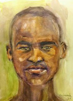 Retrato de joven africano Acuarela 30x40 2018