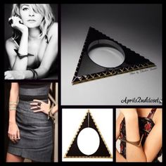 """House of Harlow Black Triangle Statement Cuff Boho NEW WITH TAGS  House of Harlow Hinged Triangle Statement Cuff  * Amazing statement piece w/textured zig zag border  * Gold & gunmetal design add to elegance  * Hinged construction w/magnetic closure & safety latch  * Approx. 2.25"""" inner diameter & 0.25"""" width; Approx. 41/8"""" each side of triangle  Material: 14k gold & gunmetal plated metal Color: Gunmetal Black & Gold Item:127900  No Trades ✅ Offers Considered*/Bundle Discounts✅ *Please use…"""