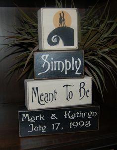 Jack Skellington Disneys Haunted Mansion Simply Meant To Be Jack And Sally Primitive Sign Blocks Blocks Wedding Shower Birthday Home Decor