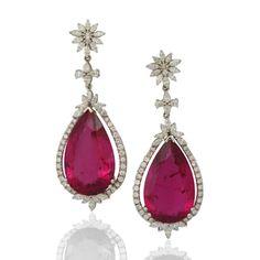 Diamond and Rubellite Large Drop Earrings -Sifani