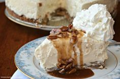 Why is this the best No Bake Cheesecake? It has a cookie crust layered with praline sauce. It is served with additional praline sauce & whipped cream.