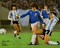 Argentina 2 France 1 in 1978 in Buenos Aires. Americo Gallego tackles Didier Six in Group 1 at the World Cup Finals.