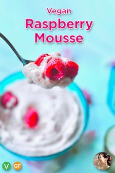 Luscious Vegan Raspberry Mousse , an easy, make ahead, pretty pink dessert made fluffy with aquafaba and and delicious with fresh raspberries. Pink Desserts, Raspberry Desserts, Valentine Desserts, Summer Desserts, Chocolate Desserts, Vegan Gluten Free Desserts, Vegan Dessert Recipes, Vegan Sweets, Dessert