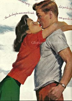 vintage romance illustrations 1940