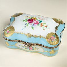 Limoges Antique Style Museum Turquoise Roses and Gold Chest Box The Cottage Shop