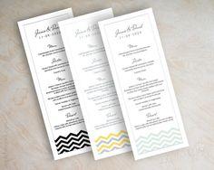 Chevron menu cards, printable menu card, mint green wedding reception menu, Chevron on Etsy, $25.00