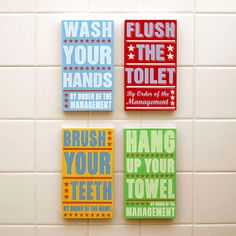 Ready to Hang Bathroom Art- Bathroom Decor Set of 4 By Order of the Management Kids Room Art-  Kids Wall Art- Bathroom Wall Art - product images  of
