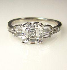 GIA Art Deco Antique Vintage Asscher Cut Diamond Engagement Ring in PLATINUM, Wish it was an emerald instead of diamond Asscher Cut Diamond Ring, Diamond Jewelry, Diamond Cuts, Jewelry Rings, Diy Jewelry, Jewellery Box, Jewelry Stores, Antic Jewellery, Art Deco Diamond