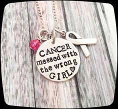 Cancer Jewelry, Breast Cancer awareness necklace,  Messed with the Wrong Red Neck!!!