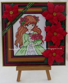 Tinyrose's Craft Room: Crafts Galore Encore Challenge blog - Poinsettia Girl image from Lemon Shortbread classic poinsettia dies from Creative Expressions