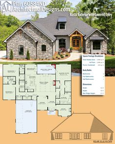 Plan Rustic Exterior with Covered Entry Architectural Designs House Plan gives you 3 beds, baths and over sq.of heated living space. New House Plans, Dream House Plans, House Floor Plans, My Dream Home, The Plan, How To Plan, Architectural Design House Plans, Architecture Design, Architecture Panel