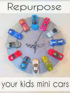YES!  This is a great way to display those darn little cars.  You could do them by color, by style, etc.  Love it!   #diy #clock #cars #corvette #diydecor