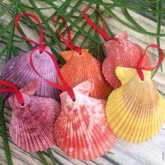 New colorful seashell Christmas ornaments! More