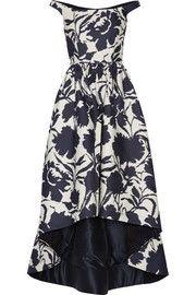 Oscar de la RentaOff-the-shoulder printed cotton and silk-blend dress