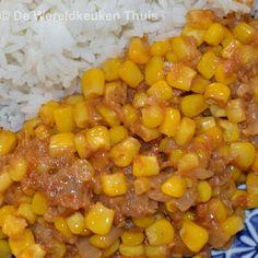 Sambal goreng mais, ook wel sambal goreng djagoeng, naar het recept van Beb Vuyk. Een favoriet Indische bijgerecht met een korte bereidingstijd.