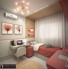 Quarto menina em tonalidades rose e cinza claro , trazendo a modernidade do conceito atual de um quarto de princesa em tempos modernos. Bedroom Furniture Design, Apartment Room, Home Room Design, Dorm Room Inspiration, Room Design Bedroom, Stylish Bedroom, Small Room Bedroom, Room Decor, Room Decor Bedroom