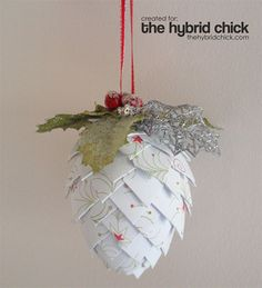 Paper Pinecone Ornament Tutorial 1 inch paper pieces pinned to egg shape styrofoam