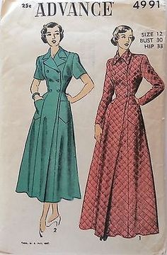 d80cca40ca Vintage Double Breasted Housecoat or Robe Pattern Floor or Calf Length 1949  Advance 4991 Bust 30 UNCUT