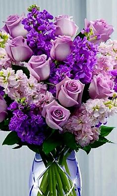 Purple Roses and purple stock bouquet