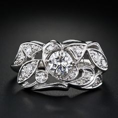 Transitional cut center stone of ct, and 12 single cut diamonds tcw, VS-SI/G-I. Jewellery Box, Jewelry Rings, Antique Jewelry, Vintage Jewelry, Rings Cool, Vintage Diamond, Diamond Are A Girls Best Friend, Ring Designs, Band Rings