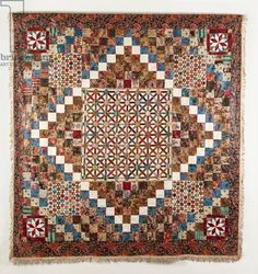 Furnishing Cottons Patchwork Coverlet, 1820-50 (cotton & linen)