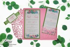 Pink Laser Cut Wedding Invitation