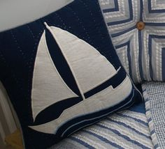 Nantucket Sailboat Pillow