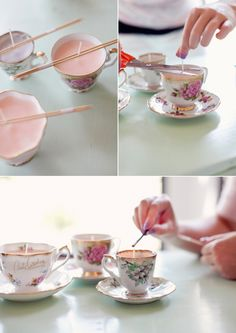 Scented candle in a teacup.