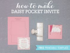 Free DIY Wedding Invitation Pocket with Floral Die-Cuts Make Your Own Wedding Invitations, Free Printable Wedding Invitations, Budget Wedding Invitations, Pocketfold Invitations, Wedding Party Invites, Pocket Wedding Invitations, Diy Wedding Favors, Wedding Ideas, Party Invitations