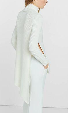 Mixed Knit High Slit Turtleneck Sweater | Express