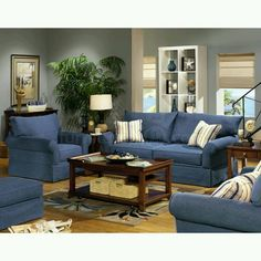 Denim furniture. Change blue furniture out with chocolate furniture and blue denim pillows. Cream or white blankets/throws. Cream or denim lampshades.