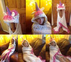 Unicorn Blanket hooded afghan throw child & by RaindropsonRosesx